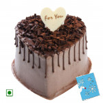2 Kg Chocolate Cake Heart Shapped (Eggless) & Card