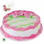 1.5 Kg Strawberry Cake (Eggless) & Card
