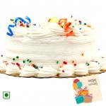 2 Kg Vanilla Cake (Eggless) & Card