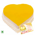 1 Kg Pineapple Cake Heart Shaped (Eggless) & Card