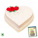 1 Kg Vanilla Cake Heart Shaped (Eggless) & Card