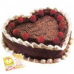 Black Forest Heart Shaped Cake 2 kg & Card