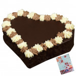 1.5 Kg Chocolate Cake Heart Shaped & Card
