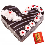 1.5 Kg Black Forest Heart Shaped Cake & Card