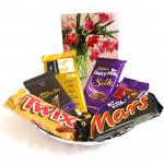 Choco Temptation - Temptations, Dairy Milk Silk, Bournville, Dairy Milk Frunt n Nut, Twix, Mars and Card