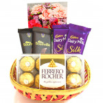 Ferrero N Silk Basket - Ferrero Rocher 16 Pcs, 2 Dairy Milk Silk, 2 Bournville and Card