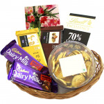 Coin of Chocolates - Lindt Excellence Chocolate, 2 Temptations, 2 Dairy Milk Frunt n Nut, Gold Choc Coin Chocolates and Card