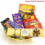 Chocolate Fun - Dairy Milk Silk, Ferrero Rocher 4 Pcs, Snicker, Mars, 2 Choco Pie (Rakhi & Tika NOT Included)