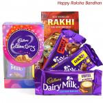 Minis N More - Mini Celebrations, Dairy Milk Fruit n Nut, Dairy Milk Crackle, Dairy Milk Roast Almond (Rakhi & Tika NOT Included)