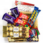 Yummy Combo - 2 Ferrero Rocher 4 Pcs, 2 Dairy Milk Fruit n Nut, 2 Kit Kat, 2 Perk, Gems and Card