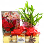 Ferrero Luck - Ferrero Rocher 4 Pcs, 2 Layer Bamboo Plant and Card