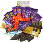 Full N Fun - 4 Dairy Milk Silk, 3 Temptations, 3 Bournville, 2 Dairy Milk Fruit n Nut, 2 Dairy Milk Crackle, Snickers, Mars, Twix, Bounty, 5 Dairy Milk and Card