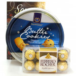 Crunch N Fun - Ferrero Rocher 16 Pcs, Danish Butter Cookies and Card