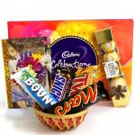 Celebrations Basket - Cadbury Celebrations, Ferrero Rocher 5 Pcs, Snicker, Mars, Twix, Bounty and Card