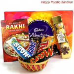 Celebrations Basket - Cadbury Celebrations, Ferrero Rocher 4 Pcs, Snicker, Mars, Twix, Bounty (Rakhi & Tika NOT Included)