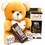 Teddy Chocolaty - Teddy 8 inch, Lindt Excellence Chocolate, Hershey's Creamy Milk Chocolate and Card
