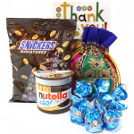 Mini Nutty Assortment - Snicker Mini 150 gms, Nutella & Go, Assorted Truffle Chocolates 100 gms in Potli and Card