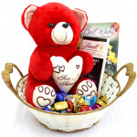 Handmade Love - Lindt Excellence Chocolates, Teddy 10 inch, Assorted Truffle Chocolates 50 gms, Hand Made Chocolates 50 gms and Card