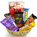 All of Chocolates Basket - Bournville, Mars, Snickers, Dairy Milk, Five Star, Perk and Card