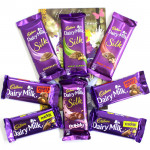 Bubbles of Love - Dairy Milk Bubbly, 3 Dairy Milk Silk, 2 Dairy Milk Fruit n Nut 38 gms, 2 Dairy Milk Crackle 38 gms and Card