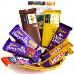 Nutty Crunchy Basket - 2 Temptations, Dairy Milk Fruit n Nut, Dairy Milk Crackle, Dairy Milk (L), 2 Five Star, Gems and Card