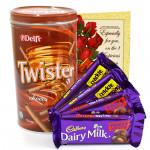 Twisting Nutty - Delfi Twister Chocolate Wafer Roll, 2 Dairy Milk Frunt n Nut, 2 Dairy Milk Crackle and Card