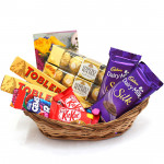 Cone of Chocolate - 2 Ferrero Rocher 4 Pcs, 2 Toblerone, 2 Dairy Milk Silk, 2 Kit Kat, Gems and Card