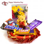 Miniature of Love - Small Teddy, Snicker, Dairy Milk Silk, Five Star, Gems and Card