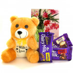 Fantastic Combo - Teddy 8 inch, Dairy Milk Fruit n Nut, Dairy Milk Crackle, Dairy Milk Roat Almond and Card