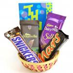 Chocolaty Gift Basket - Bournville, Dairy Milk Silk, Snicker, Mars and Card