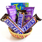 Silk N Snickers Basket - 2 Dairy Milk Silk, 3 Snicker and Card