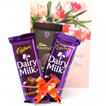 Dark N Milky - Bournville 90 gms, 2 Dairy Milk 34 gms and Card