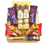 Duo Quadrant - 2 Ferrero Rocher 4 Pcs, 2 Dairy Milk Fruit n Nut, 2 Five Star, 2 Choco Pie and Card