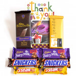 Choco Bars - Temptations, Bournville 90 gms, 2 Dairy Milk Fruit n Nut, 2 Snickers, 2 Five Star and Card