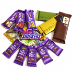 Full of Chocolates - 3 Temptations, Dairy Milk Fruit n Nut, Dairy Milk Crackle, Dairy Milk Roast Almond, Snickers, 5 Dairy Milk and Card