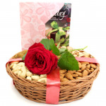 Rose Basket - Assorted Dryfruit in Basket, 1 Artificial Rose