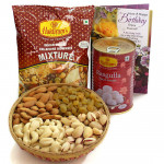 Sweet N Salty - Assorted Dryfruits in Basket, Rasgulla 500 gms Tin, Haldiram Namkeen