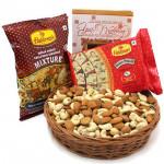 Salty Papdi - Cashewnuts & Almonds in Basket, Soan Papdi 250 gms, Haldiram Namkeen