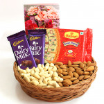 Sweet Assortment - Cashewnuts & Almonds in Basket, Soan Papdi 250 gms, 2 Dairy Milk (L)