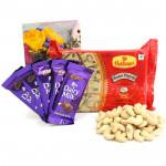 Platable Gift - Cashewnuts, Soan Papdi 250 gms, 5 Dairy Milk