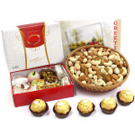 Enjoyable Gift - Assorted Dryfruit in Basket, Kaju Mix 250 gms, Ferrero Rocher 4 pcs