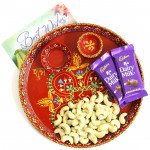 Loved Combo - Cashews, 2 Dairy Milk, Meenakari Pooja Thali