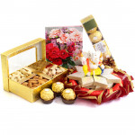Affable Gift - Assorted Dry Fruits in Box, Kaju Katli 250 gms, Ferreo Rocher 4 Pcs, Decorative Ganesh Idol
