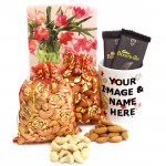 Congenial Combo - Cashewnuts in Potli, Almonds in Potli, 2 Bournville, Personalised Mug