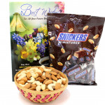 Delicious Basket - Almonds and Cashewnuts in Basket, Snickers Miniatures