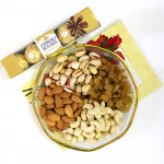 Craving for More - Assorted Dryfruits in Decorative Thali, Ferrero Rocher 4 pcs