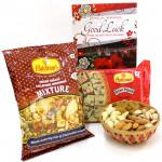 Delectable Gift - Assorted Dryfruits in Basket, Soan Papdi 250 gms, Haldiram Namkeen