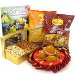 Adoring Gift - Cashew Almond in Box, Kanpuri Laddo 250 gms, 2 Haldiram Namkeen, Decorative Thali