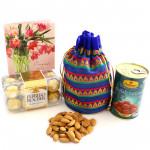 Loved Regard - Almond in Potli (D), Gulab Jamun Tin 500 gms, Ferrero Rocher 16 pcs
