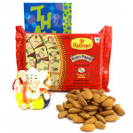 Toothsome Gift - Almonds, Soan Papdi 250 gms, Decorative Ganesh Idol